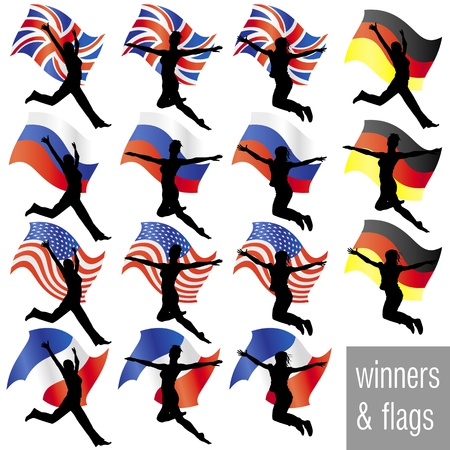 Athletes With Flags Set Vector