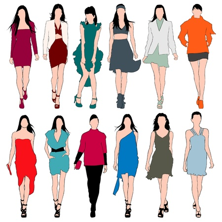 Fashion Models Silhouettes Vector