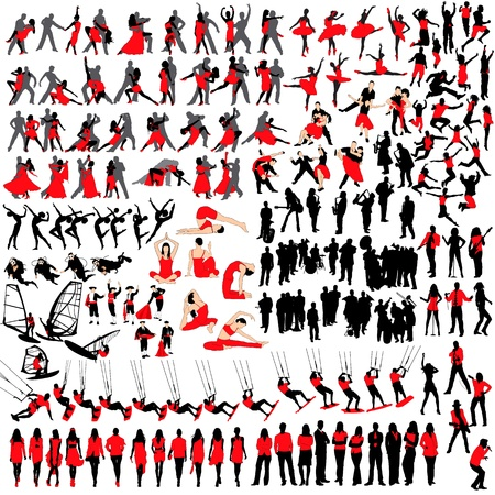 Over 150 people at leisure silhouettes Illustration
