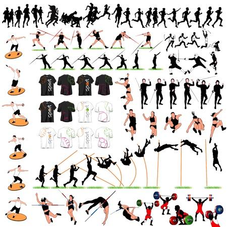 lanzamiento de disco: 88 siluetas deportivas y camisetas Juego