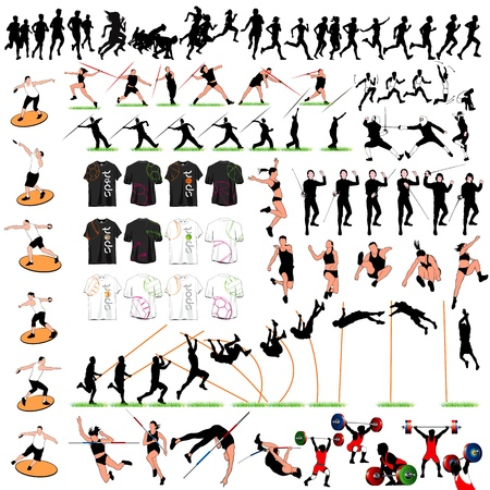 88 Sport Silhouettes and T-shirts Set Stock Vector - 15964335