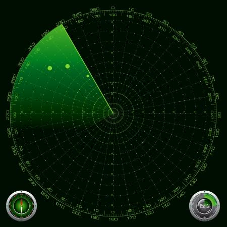 sonar: Illustrazione dettagliata di una schermata Radar Vettoriali