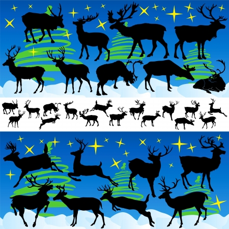 Reindeer Christmas Silhouettes and Isolated on White Vector