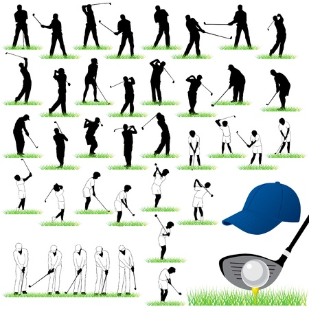 golf swings: 40 Detailed Golf  silhouettes set