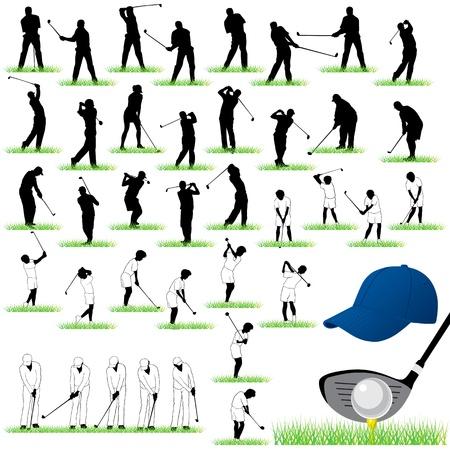 40 Gedetailleerde Golf silhouetten set