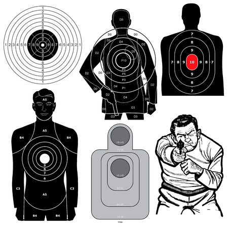 murder: Set of 6 Shooting Targets