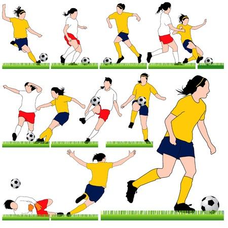offside: 12 Female Soccer Silhouettes Set Illustration