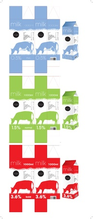 3 milk packaging templates Vector