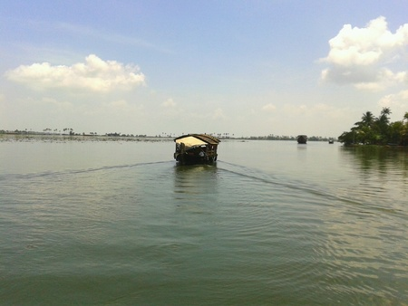 alleppey: Houseboat in backwater alappuzha Stock Photo