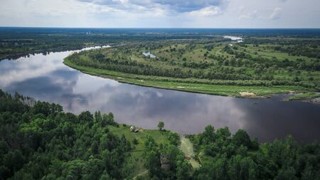 Aerial view Pripyat river in the resettlement zone in the Polessky Radiological Reserve. Ecological problem concept.