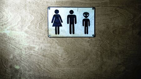 Gender neutral sign for the restroom. Inclusive concept. Space for text. 免版税图像