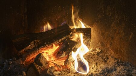 Burning logs in a cozy fireplace. Fire background.