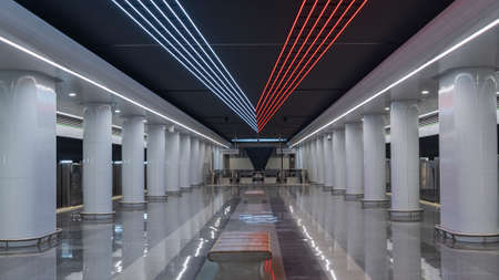 Empty new subway or metro station. Interior of the metro station. Design concept. Editorial