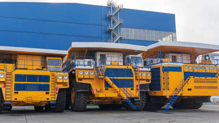 The worlds biggest truck with electric drive system consisting of four electric motors. Mining two-axle all-wheel-drive dump truck with weight-carrying capacity of 450 metric tons.
