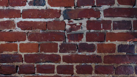 Full frame of old red brick wall. Background of urban old brick wall pattern design texture.