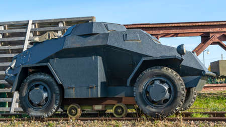A period WW2 German armored scout or command car. Car used by the German Armed Forces during World War II. The car can drive on rails. Historical concept. Foto de archivo