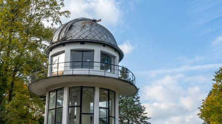 Building of Planetarium in Minsk, Belarus. Old observatory on blue sky background. Scientific concept. Foto de archivo