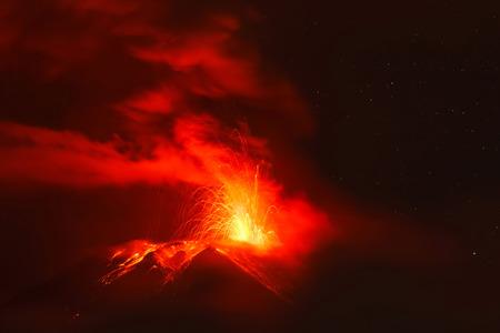 strombolian: Powerful Explosion Of Tungurahua Volcano At Night, Ecuador