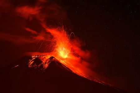 tungurahua: Explosion Of Tungurahua At Night, Ecuador, South America Stock Photo