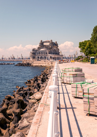 Casino Constanta Perched On A Cliffside Overlooking At Black Sea, Romania, East Europe
