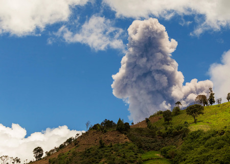 strombolian: Powerful Day Explosion Of Tungurahua Volcano, South America Stock Photo