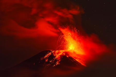 Powerful Explosion Of Tungurahua Volcano At Night, Ecuador, South America