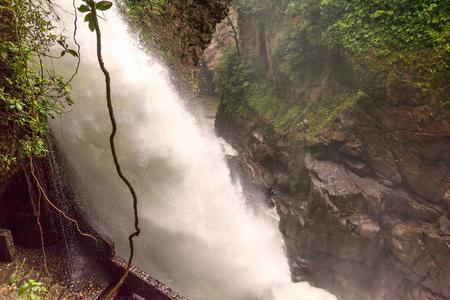 diablo: Pailon Del Diablo, Devils Cauldron Waterfall Is The Most Impressive Waterfall Around Banos De Agua Santa, Ecuador Stock Photo