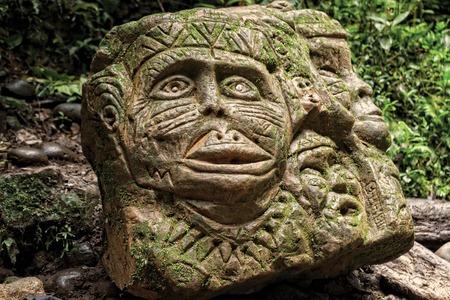 pre columbian: Ancient Pre Columbian Statue, Tropical Rainforest, South America