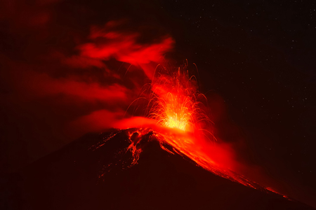 tungurahua: Violent Explosion Of Tungurahua Volcano At Night, Ecuador, South America
