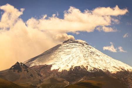 spew: Cotopaxi volcano day eruption, Ecuador, South America
