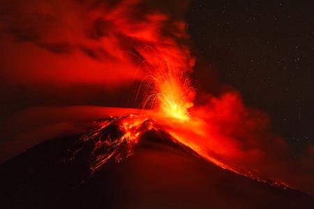 eruptive: Long Exposure Of Tungurahua Volcano Explosion At Night, Ecuador, South America