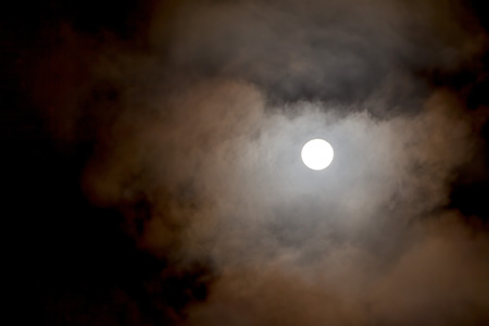 lunar eclipse: Night Sky With Full Moon And Clouds, Lunar Eclipse