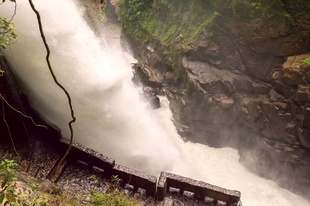 diablo: Pailon Del Diablo, Devils Cauldron Waterfall Is A Magnificent Waterfall In The Rio Verde Area, Ecuador