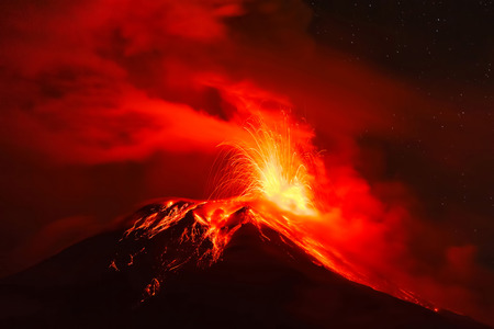 eruptive: Tungurahua Volcano At Night, Ecuador, South America Stock Photo