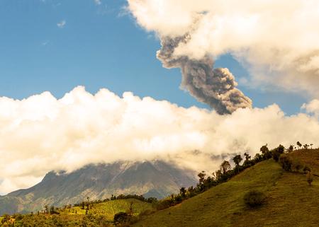 strombolian: Tungurahua Volcano, Violent Day Explosion In Ecuador, South America