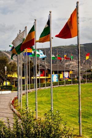 Flags Beating In Strong Wind, Mitad Del Mundo Village, Ecuador