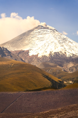 crater highlands: Close Up Of Cotopaxi Powerful Day Explosion, South America Stock Photo