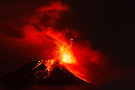strombolian: Night Explosion Of Tungurahua Volcano, Ecuador, South America