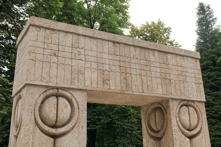 constantin: The Gate Of The Kiss Stone Sculpture Made By Constantin Brancusi, Symbolizing The Triumph Of Life Over Death, Romania