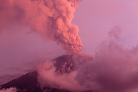 eruptive: Powerful Eruption Of Tungurahua Volcano At Sunset, Ecuador, South America Stock Photo