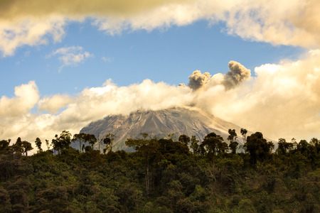 spewing: Ecuador Tungurahua Volcano Spewing Restive Plumes Of Ash And Gas Far Above Its Crater, South America