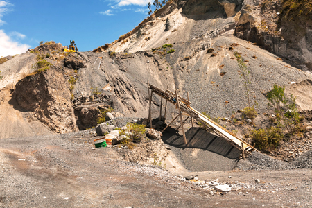 Limestone Quarry, Mining Technique In Andes Mountains, South America
