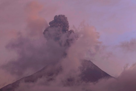 tungurahua: Explosion Of Tungurahua Volcano At Sunset, Ecuador, South America