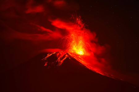 tungurahua: Tungurahua Volcano Night Explosion, Ecuador, South America Stock Photo