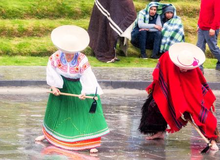 honoring: Ingapirca, Ecuador - 20 June 2015: Unidentified Indigenous Couple Celebrating Inti Raymi, Honoring Diets Inti In Ingapirca On June 20, 2015 Editorial