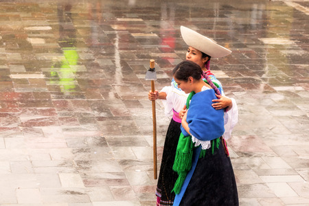 honoring: Ingapirca, Ecuador - 20 June 2015: Unidentified Young Women Honoring The Inca Deity, Festival Of The Sun, Inti Raymi In Ingapirca On June 20, 2015 Editorial