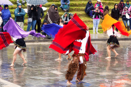 solstice: Ingapirca, Ecuador - 20 June 2015: Unidentified Group Of Dancers Are Celebrating Inti Raymi, Winter Solstice  In Ingapirca On June 20, 2015