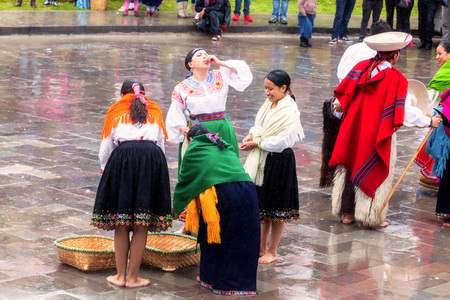 madre tierra: Ingapirca, Ecuador - 20 June 2015: Unidentified Groups Of Indigenous People Celebrating Gifts From Mother Earth, Inti Raymi In Ingapirca On June 20, 2015 Editorial