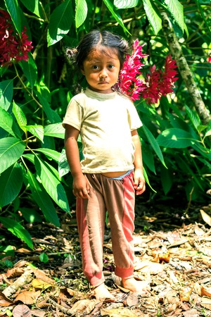 colonization: Yasuni, Ecuador - 17 November 2012: Young Indigenous Girl Looking Scared Straight To The Camera, South America In Yasuni On November 17, 2012 Editorial