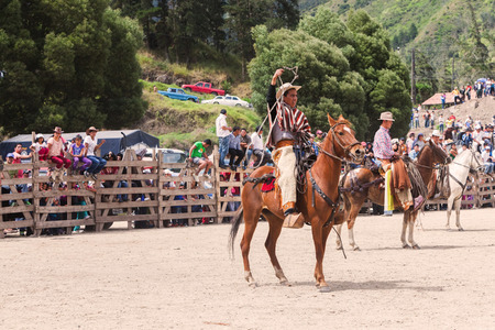 arena rodeo: Banos, Ecuador - 30 November 2014: Young Indigenous Cowboy Riding A Horse And Throwing A Lasso, South America In Banos On November 30, 2014